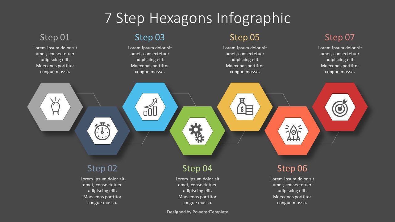 7 Step Hexagon Infographic, 07619, Stage Diagrams — PoweredTemplate.com