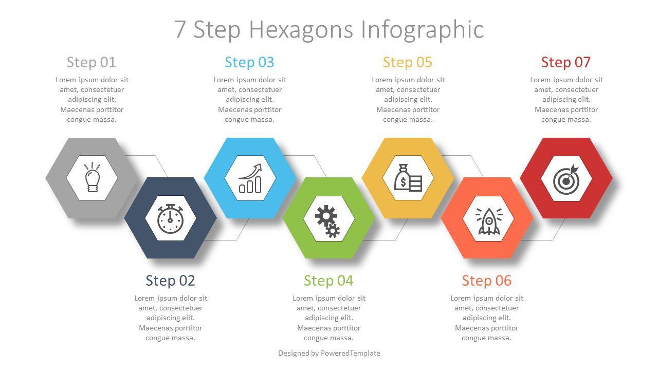 7 Step Hexagon Infographic, Slide 2, 07619, Stage Diagrams — PoweredTemplate.com