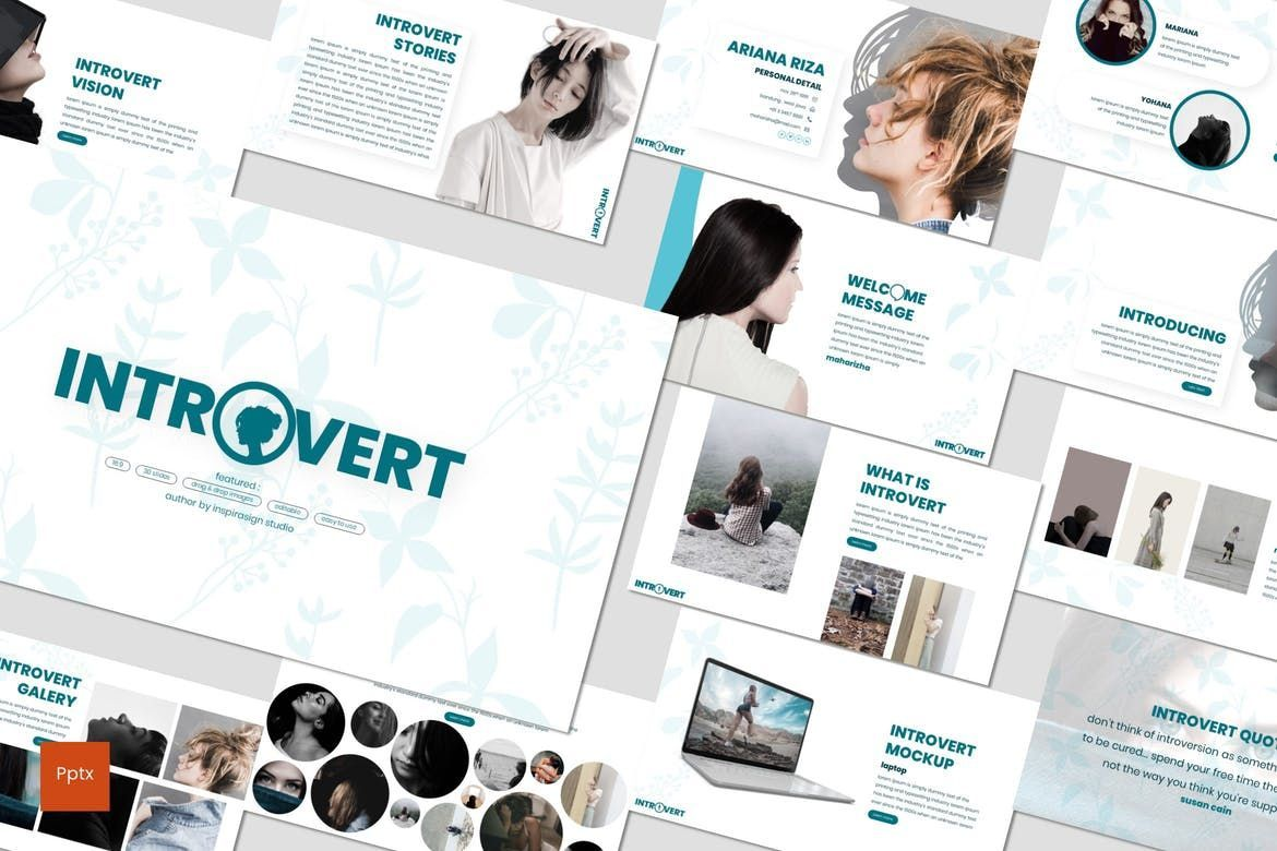 Introvert - PowerPoint Template, 07629, Presentation Templates — PoweredTemplate.com