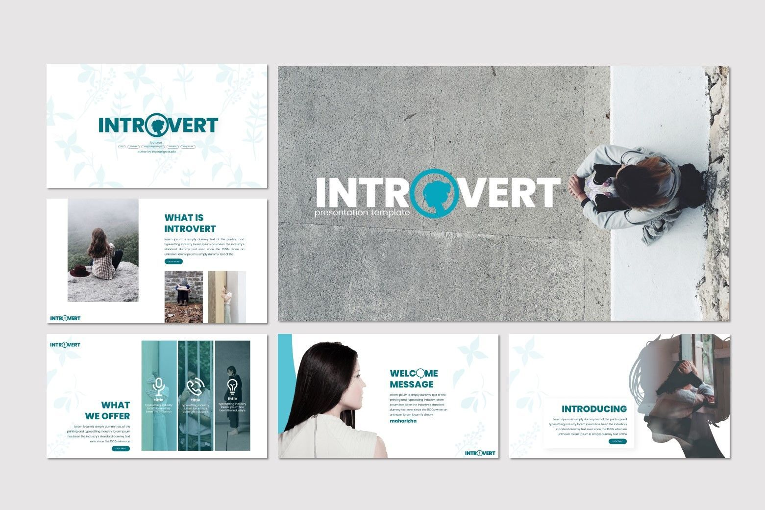 Introvert - PowerPoint Template, Slide 2, 07629, Presentation Templates — PoweredTemplate.com