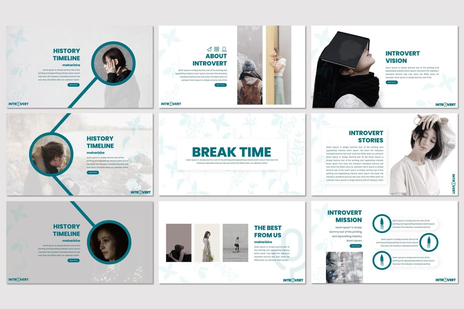Introvert - PowerPoint Template, Slide 3, 07629, Presentation Templates — PoweredTemplate.com