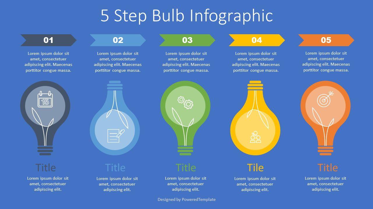 5 Step Bulb Infographic, 07631, Infographics — PoweredTemplate.com