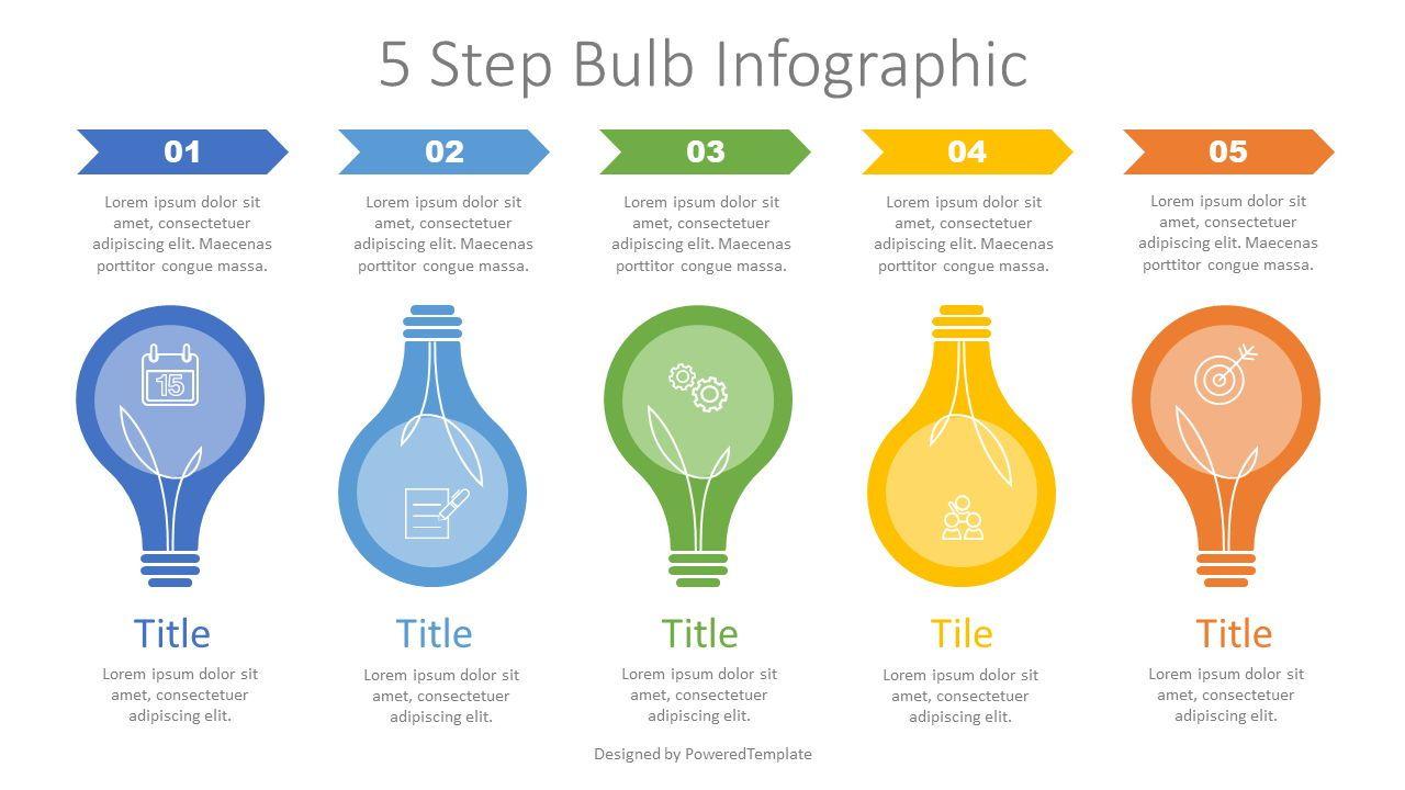 5 Step Bulb Infographic, Slide 2, 07631, Infographics — PoweredTemplate.com