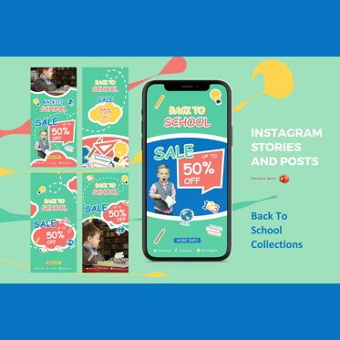 Presentation Templates: Back to school promotion instagram stories and posts powerpoint template #07638