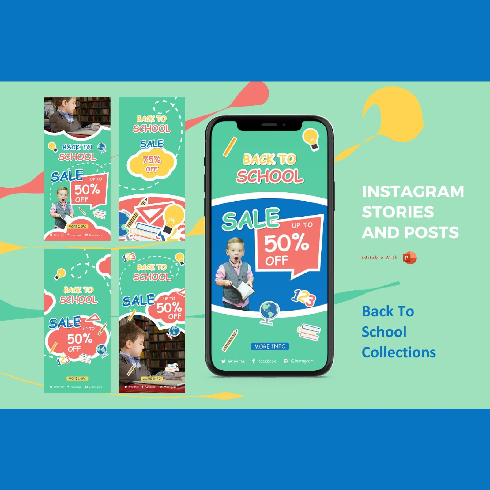 Back to school promotion instagram stories and posts powerpoint template, 07638, Presentation Templates — PoweredTemplate.com