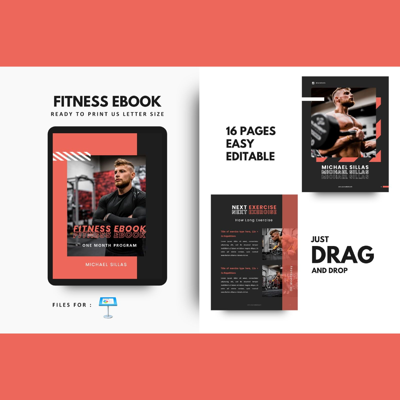 Fitness trainer body builder keynote presentation template, 07648, Presentation Templates — PoweredTemplate.com