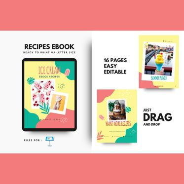 Presentation Templates: Ice cream recipes cookbook keynote presentation template #07652
