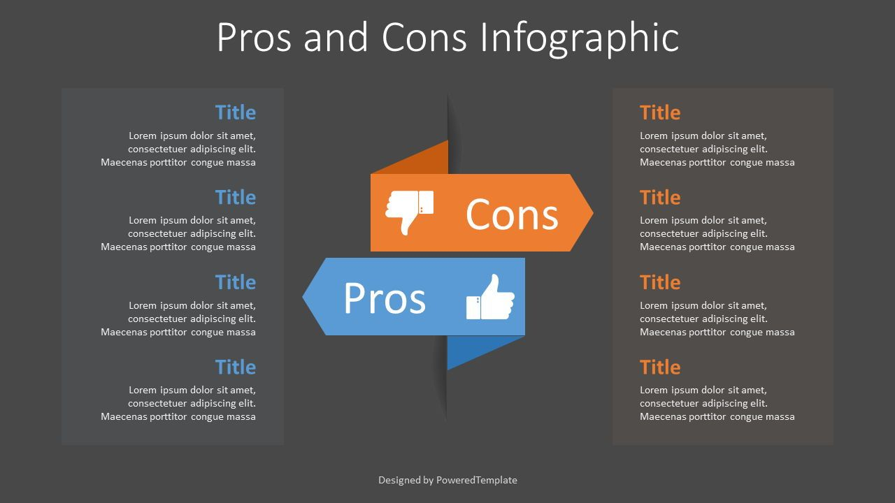 Pros and Cons Infographic, Slide 2, 07658, Business Models — PoweredTemplate.com