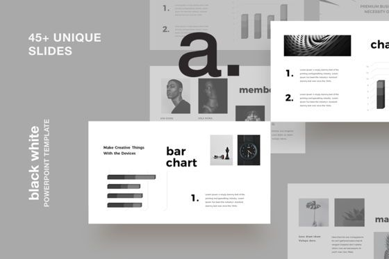 Presentation Templates: Black White Powerpoint Presentation Template #07670