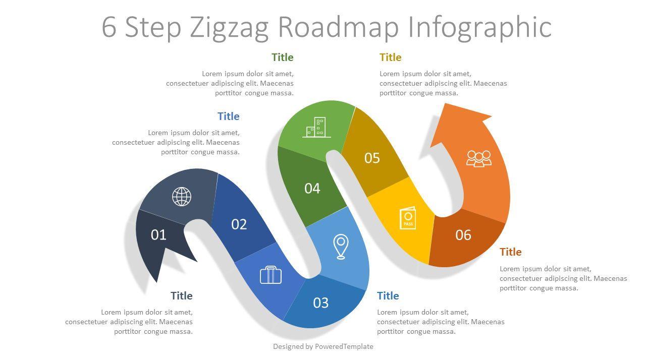 6 Step Zigzag Roadmap Infographic, 07672, Process Diagrams — PoweredTemplate.com