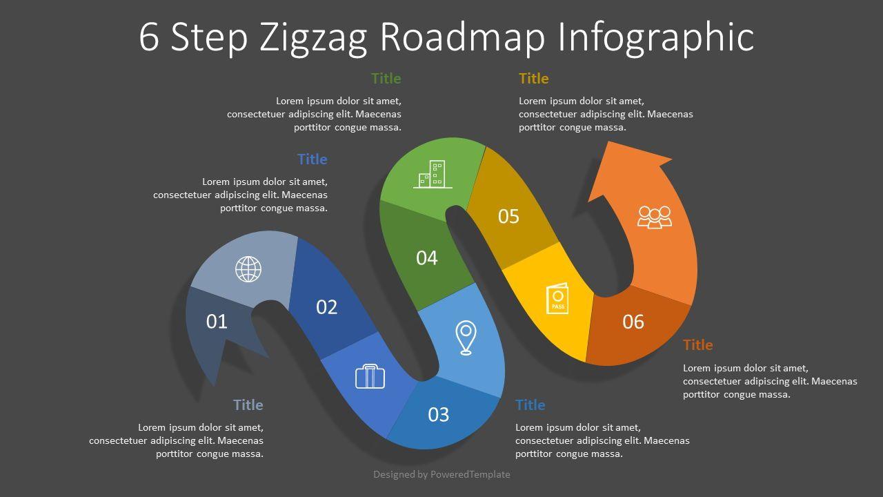 6 Step Zigzag Roadmap Infographic, Slide 2, 07672, Process Diagrams — PoweredTemplate.com