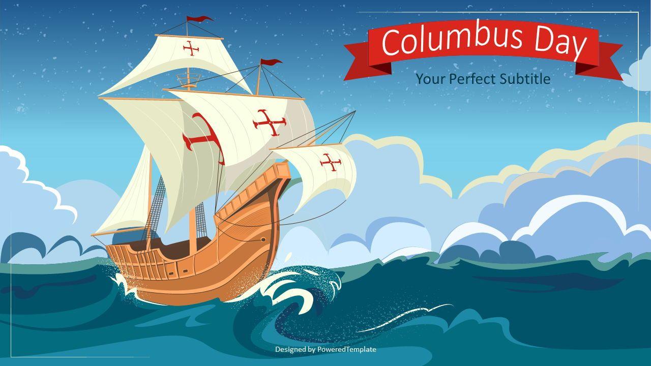 Happy Columbus Day Concept, 07675, Presentation Templates — PoweredTemplate.com
