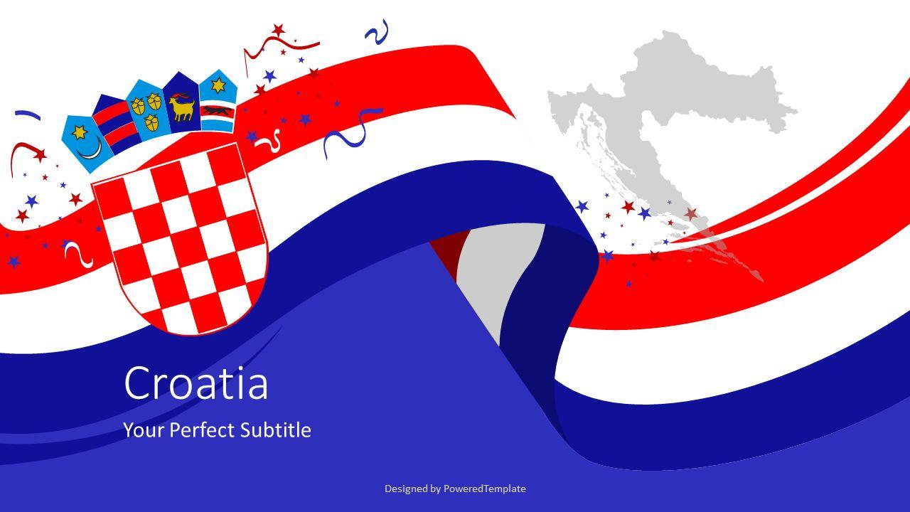 Festive Flag of Croatia Cover Slide, 07679, Presentation Templates — PoweredTemplate.com