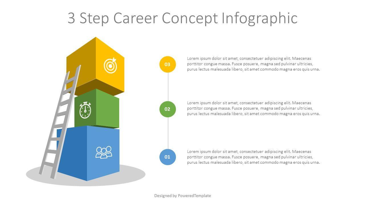 3 Step Career Concept Infographic, 07680, Infographics — PoweredTemplate.com
