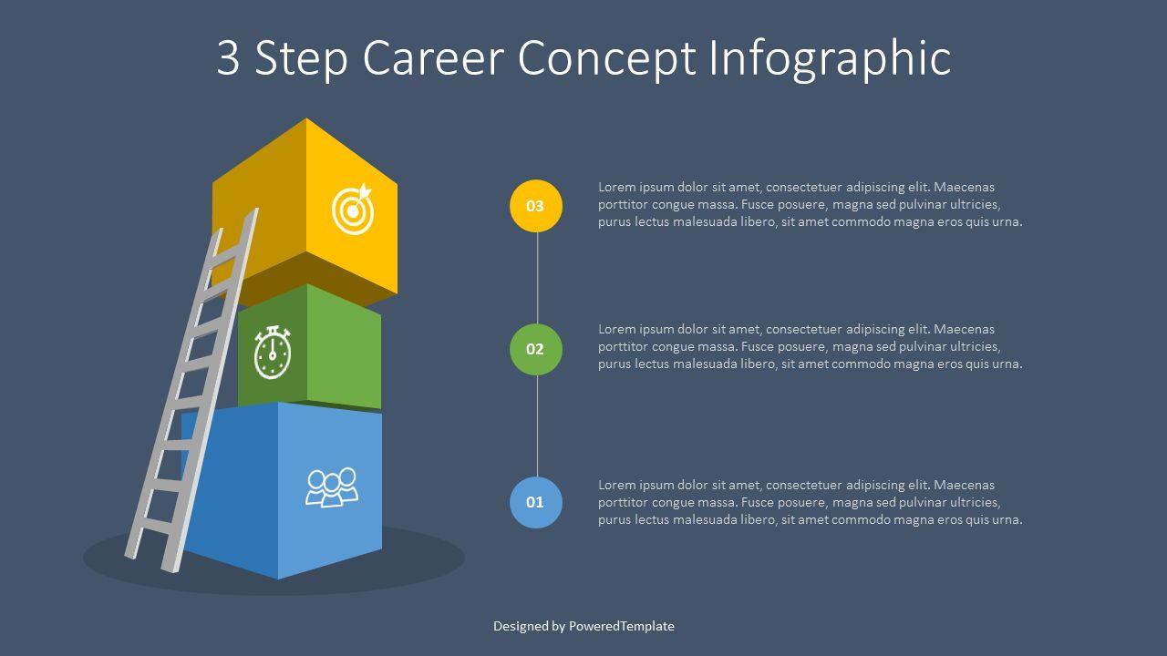 3 Step Career Concept Infographic, Slide 2, 07680, Infographics — PoweredTemplate.com
