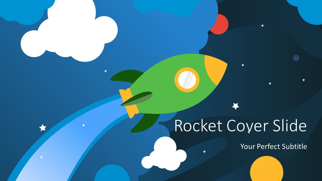 Cartoon Rocket Cover Slide, 07690, Education Charts and Diagrams — PoweredTemplate.com