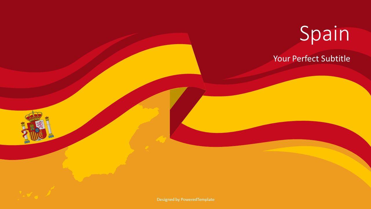 Spain Flag Cover Slide, 07702, Presentation Templates — PoweredTemplate.com