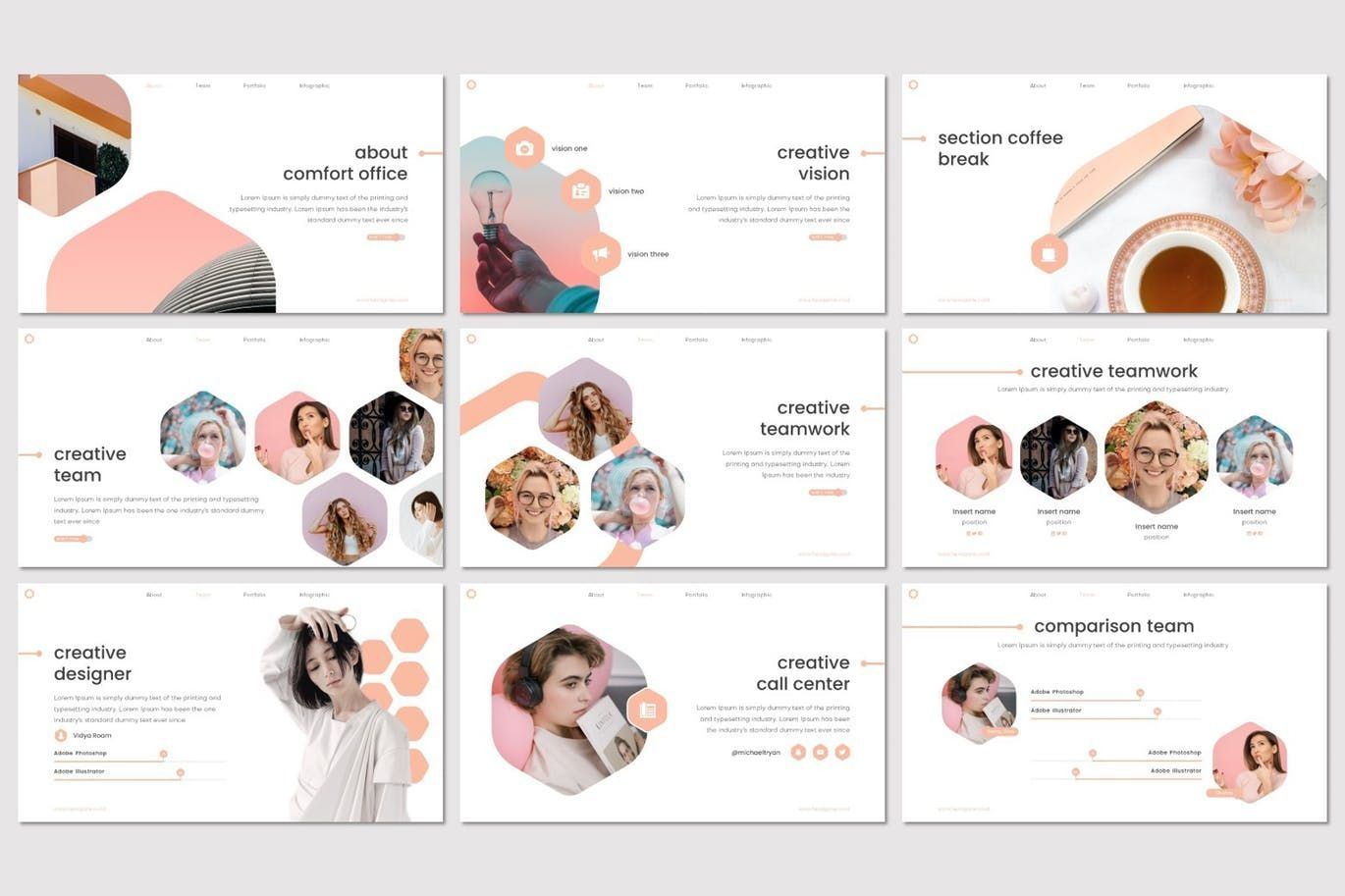 Hexagone - PowerPoint Template, Slide 3, 07711, Presentation Templates — PoweredTemplate.com
