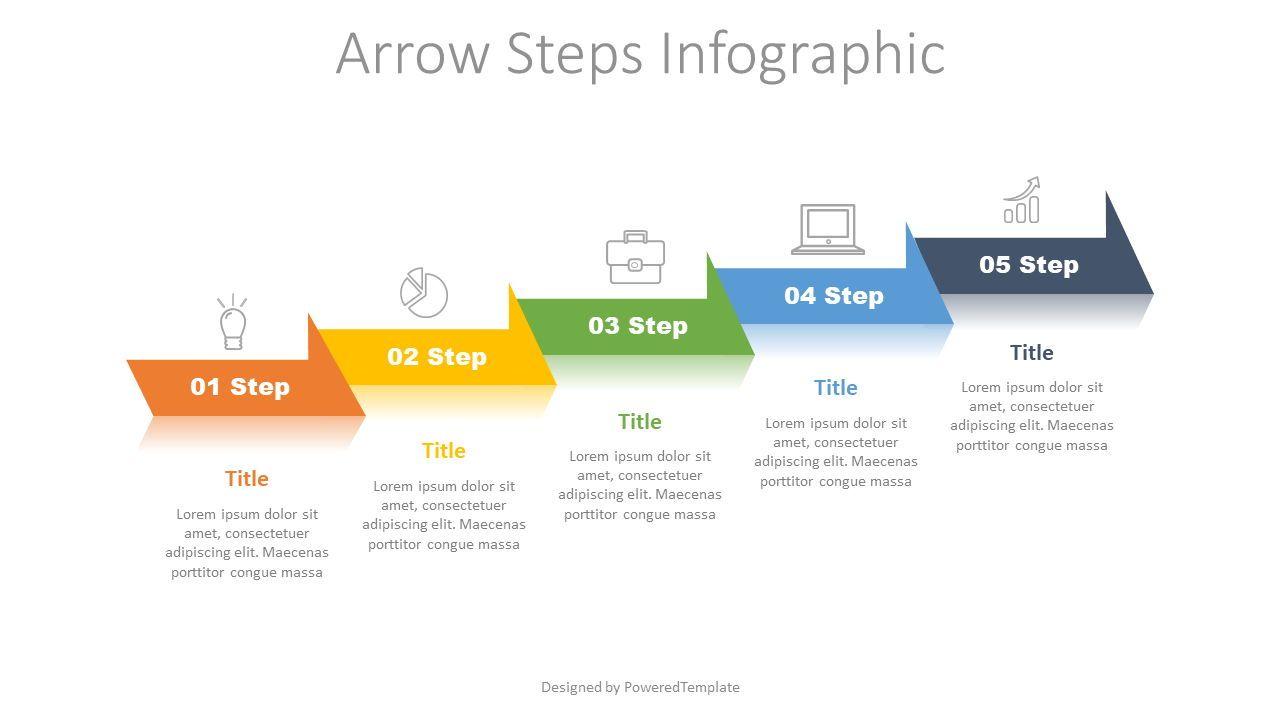 5 Arrow Step Infographic, 07717, Process Diagrams — PoweredTemplate.com