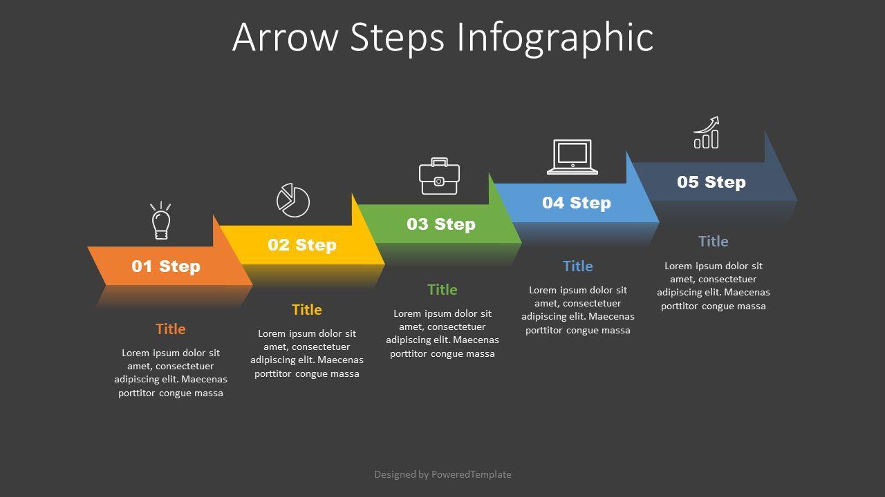 5 Arrow Step Infographic, Slide 2, 07717, Process Diagrams — PoweredTemplate.com