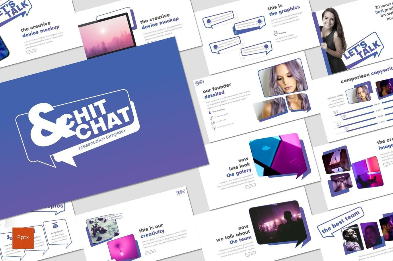 Chit Chat - PowerPoint Template, 07723, Presentation Templates — PoweredTemplate.com