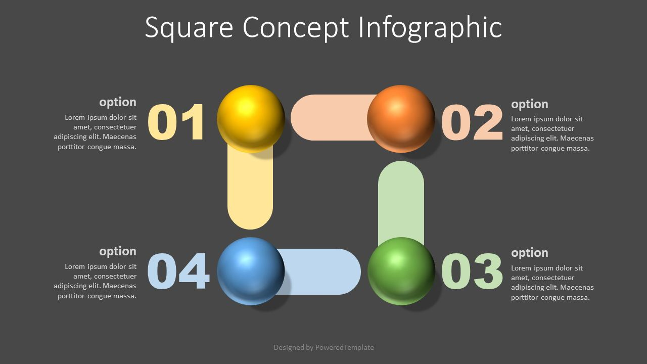 Square Shape Concept Infographic, 07725, Education Charts and Diagrams — PoweredTemplate.com