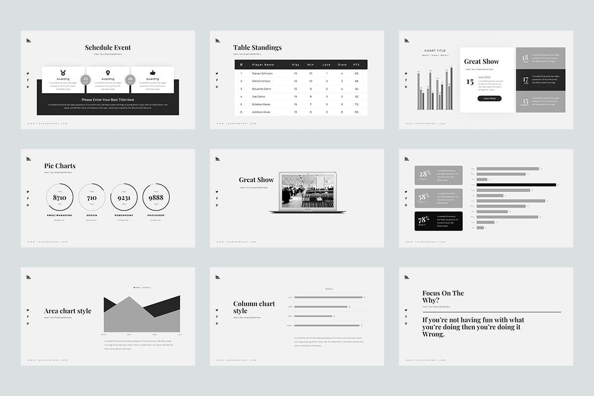 Vincent PowerPoint Presentation, Slide 5, 07731, Graph Charts — PoweredTemplate.com