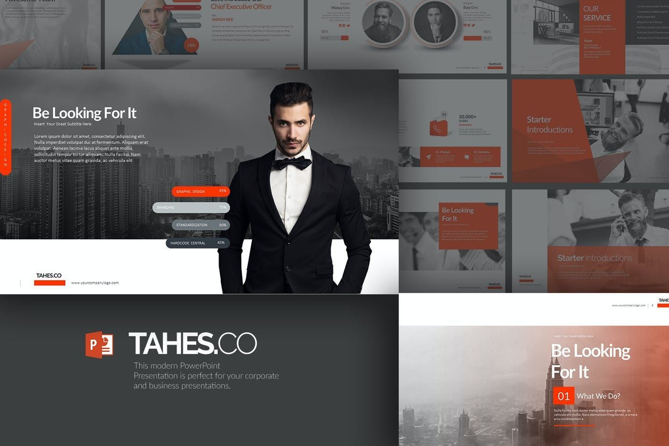 Tahes Co PowerPoint Template, 07733, Business Models — PoweredTemplate.com
