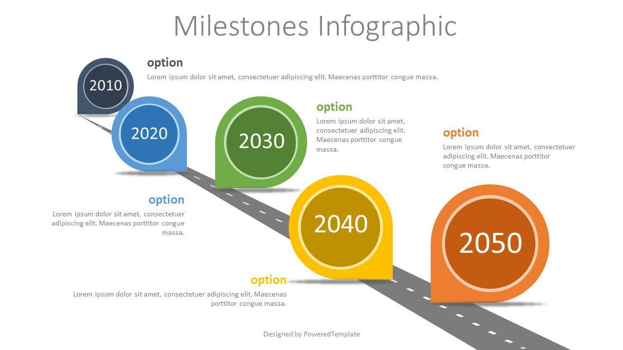 Milestones Concept Infographics, 07762, Timelines & Calendars — PoweredTemplate.com