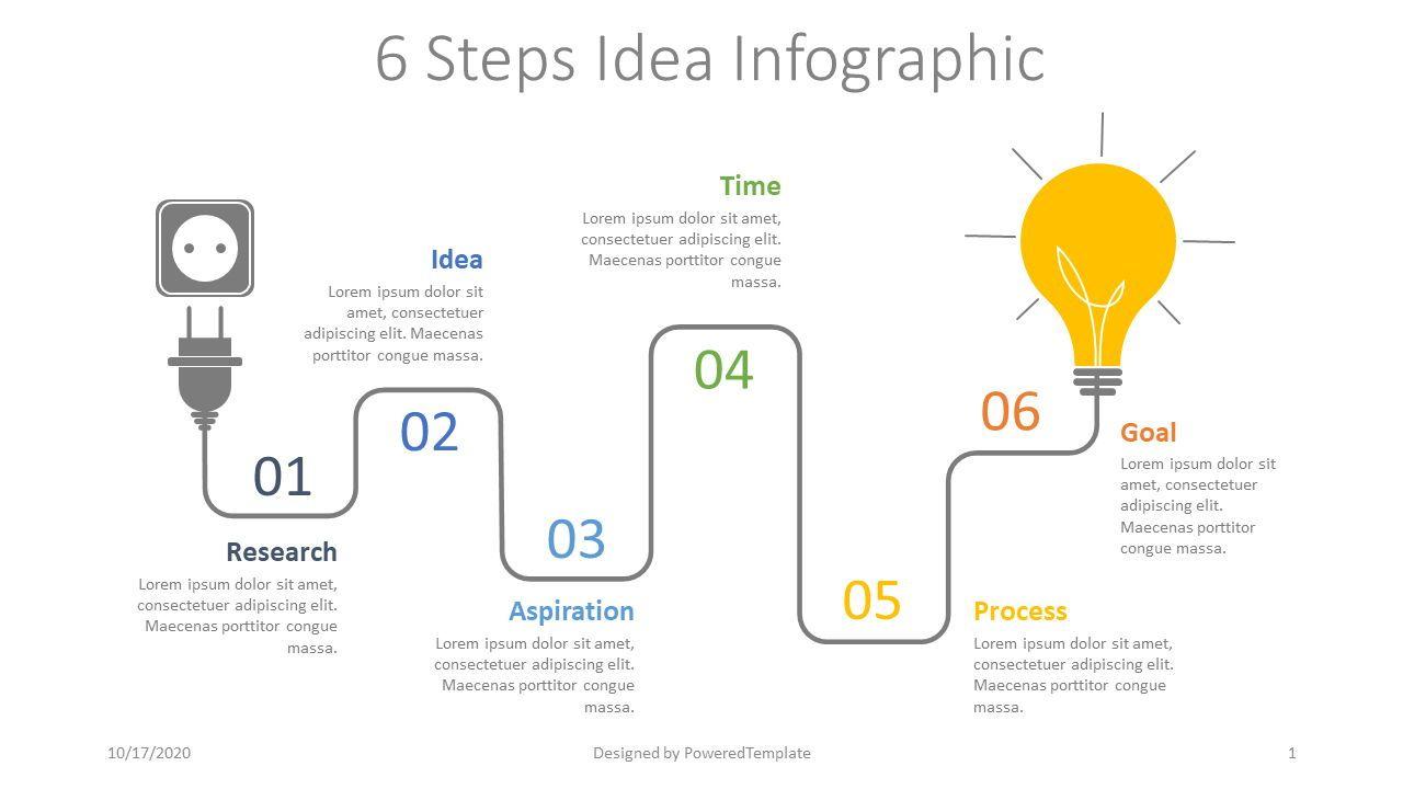 6 Steps Idea Development Infographic, 07766, Shapes — PoweredTemplate.com