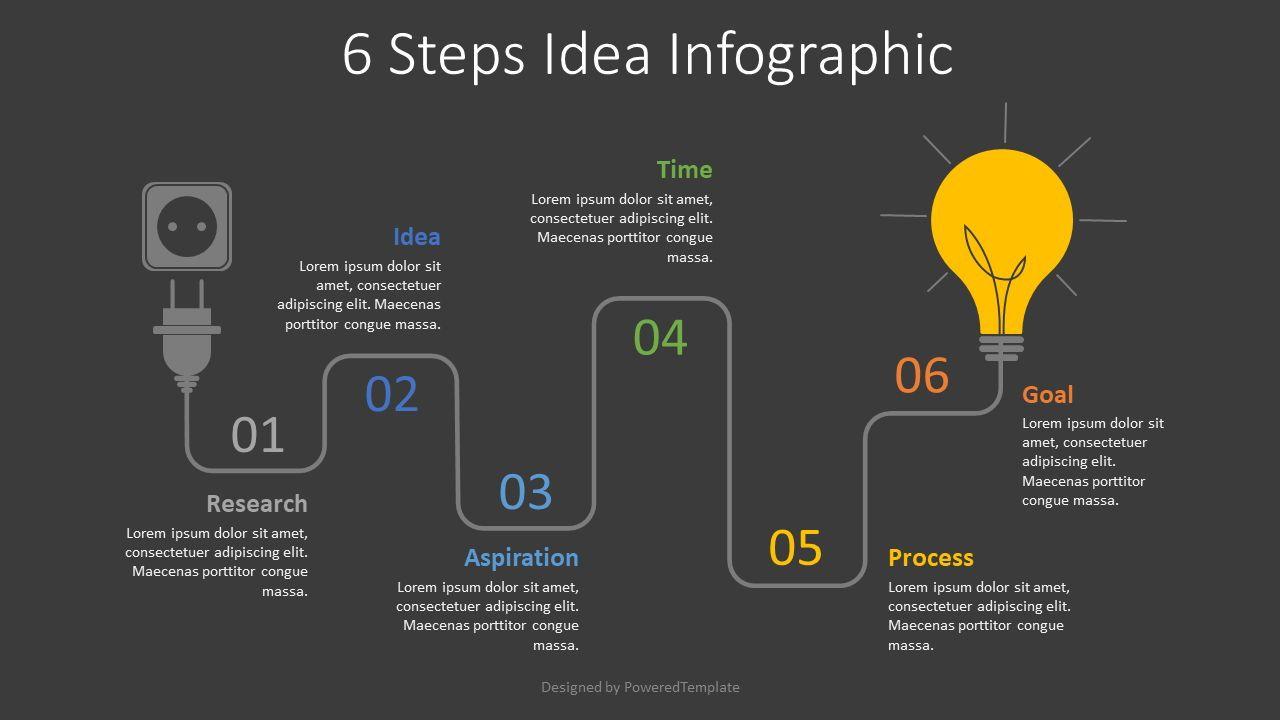 6 Steps Idea Development Infographic, Slide 2, 07766, Shapes — PoweredTemplate.com