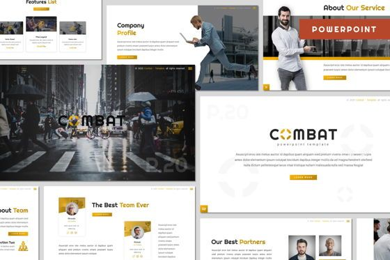 Presentation Templates: Combat - Powerpoint Template #07797