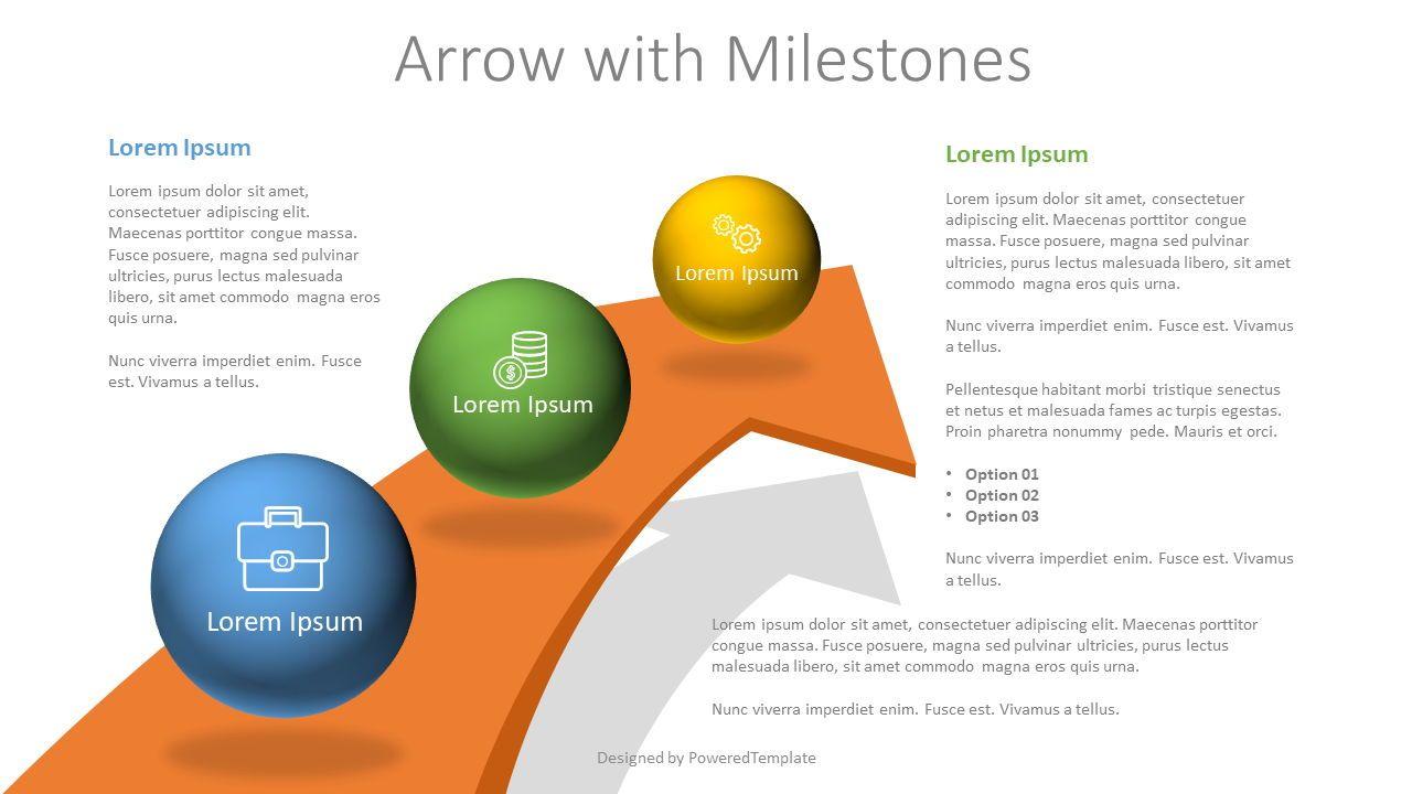 Arrow with 3 Milestones, 07810, Infographics — PoweredTemplate.com