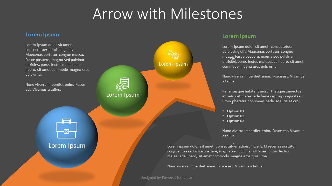 Arrow with 3 Milestones, Slide 2, 07810, Infographics — PoweredTemplate.com