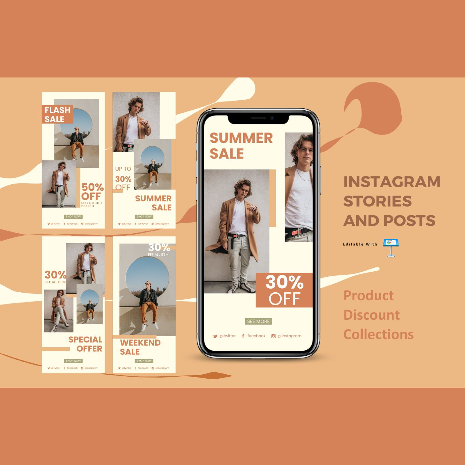 Special discount instagram stories and posts keynote template, 07834, Business Models — PoweredTemplate.com
