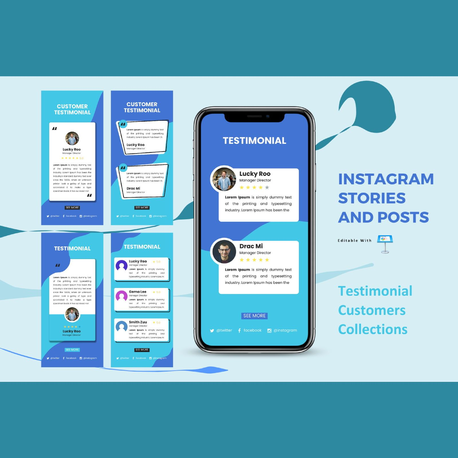 Testimonial business instagram stories and posts keynote template, 07835, Business Models — PoweredTemplate.com