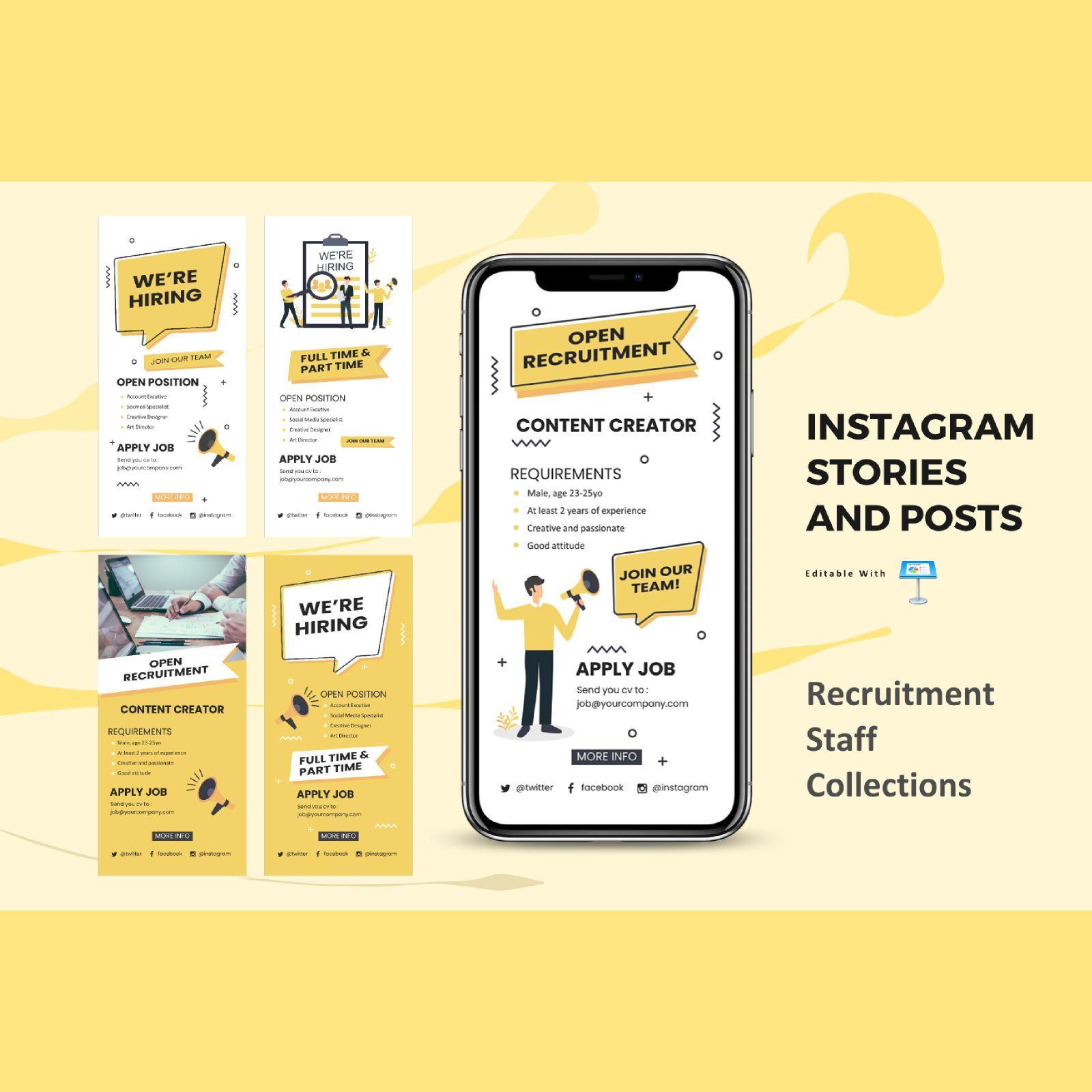 Recruitment staff instagram stories and posts keynote template, 07838, Business Models — PoweredTemplate.com