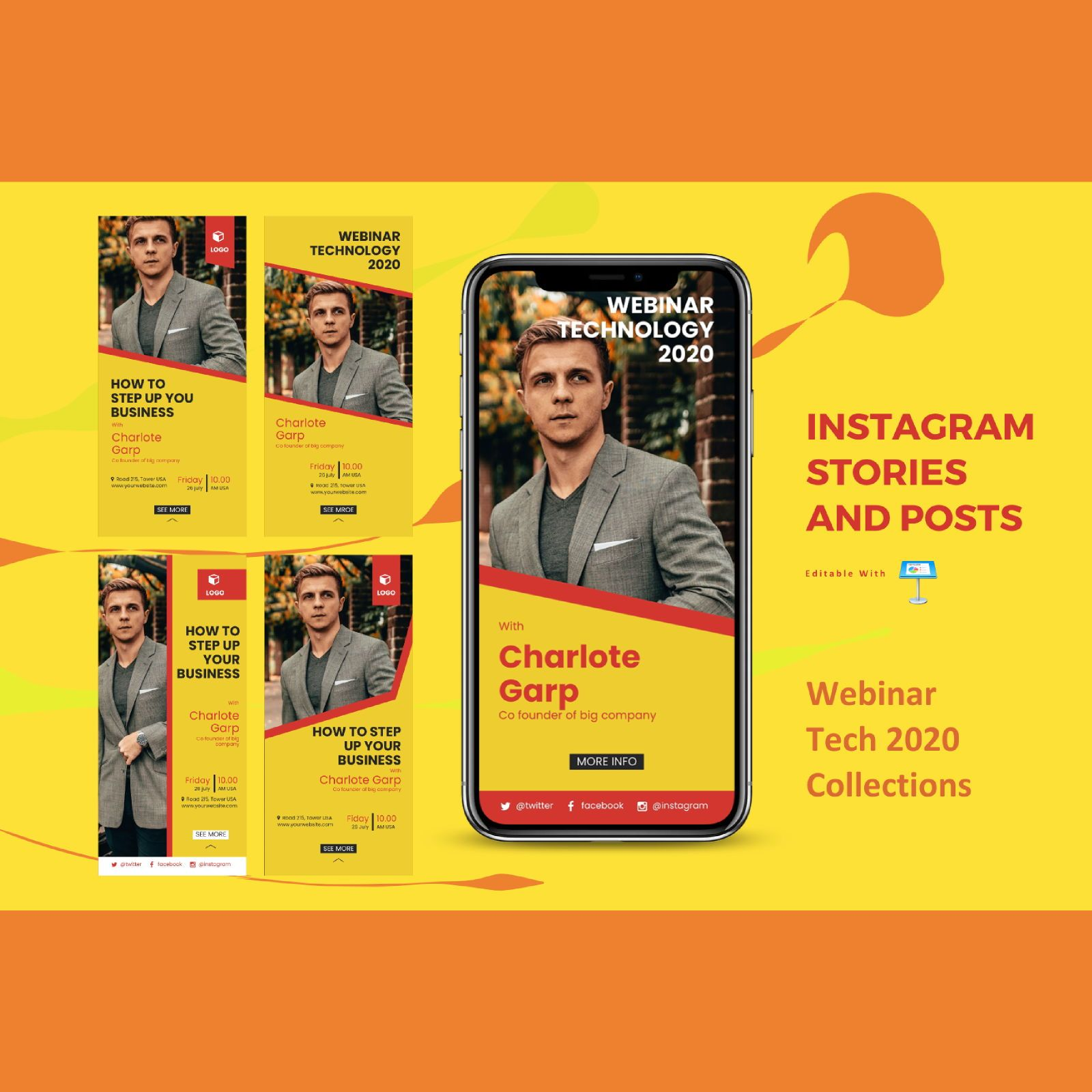 Webinar event instagram stories and posts keynote template, 07840, Business Models — PoweredTemplate.com