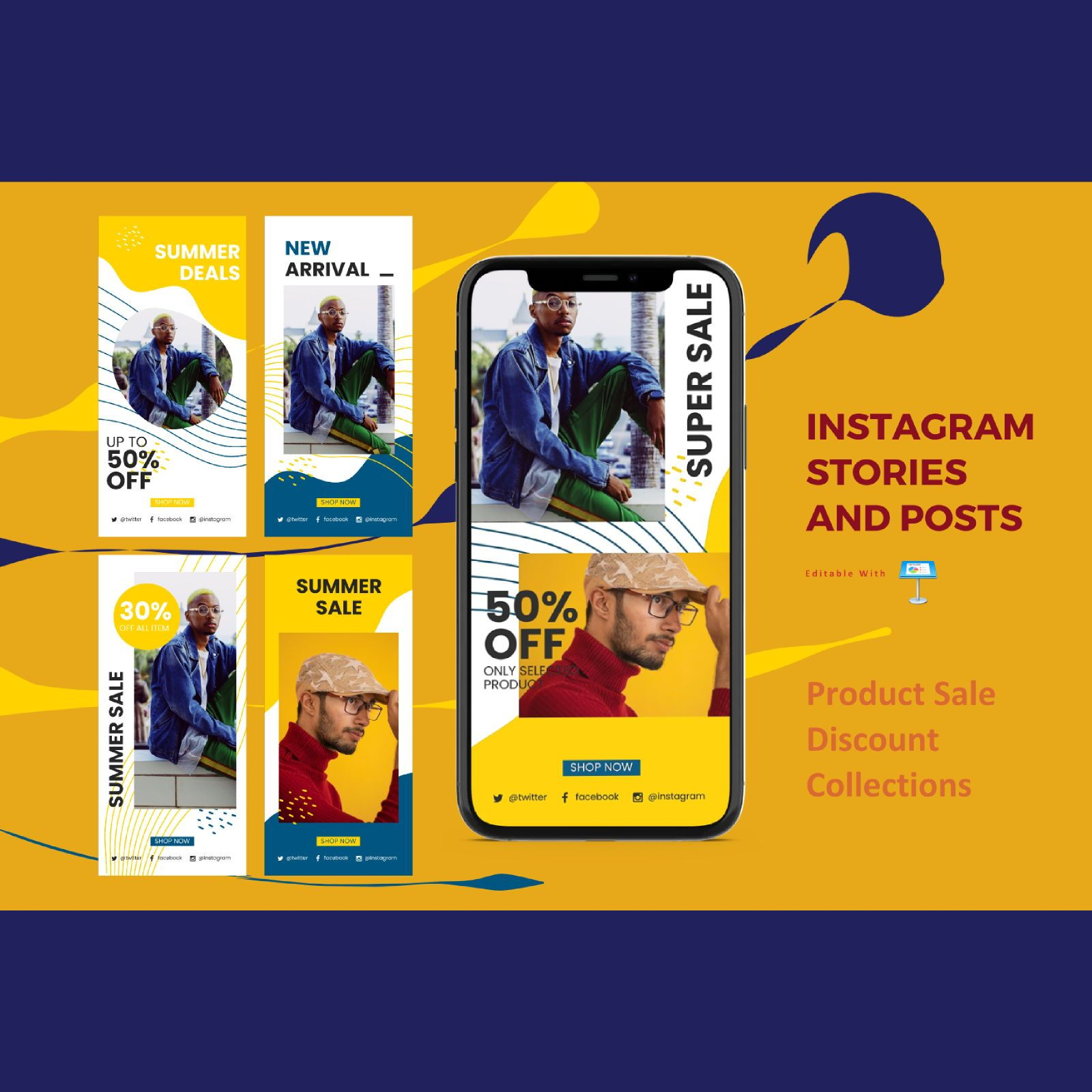 Product discount instagram stories and posts keynote template, 07841, Business Models — PoweredTemplate.com