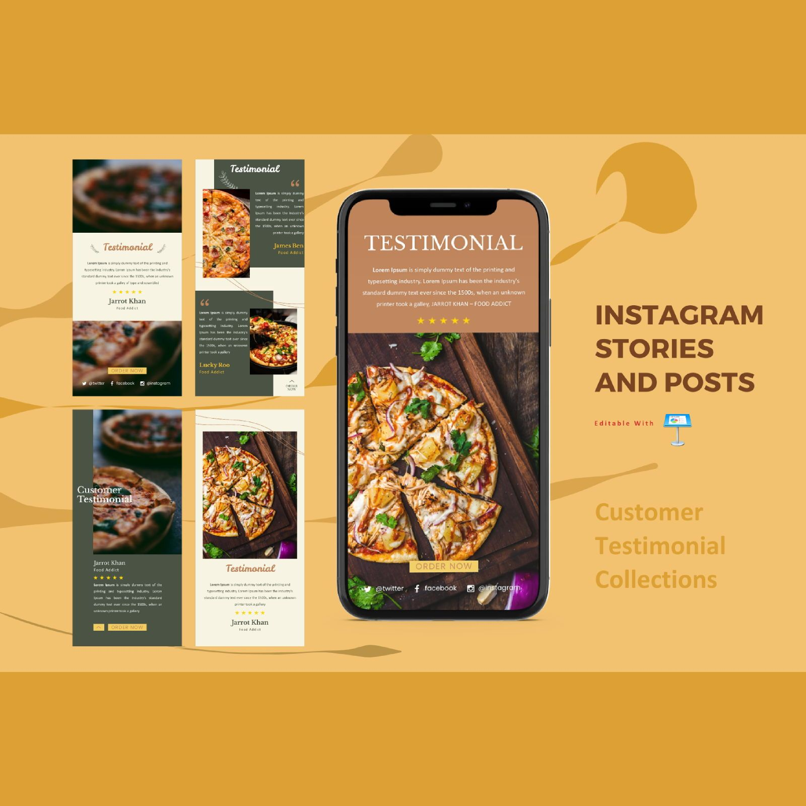 Testimonial client instagram stories and posts keynote template, 07847, Business Models — PoweredTemplate.com