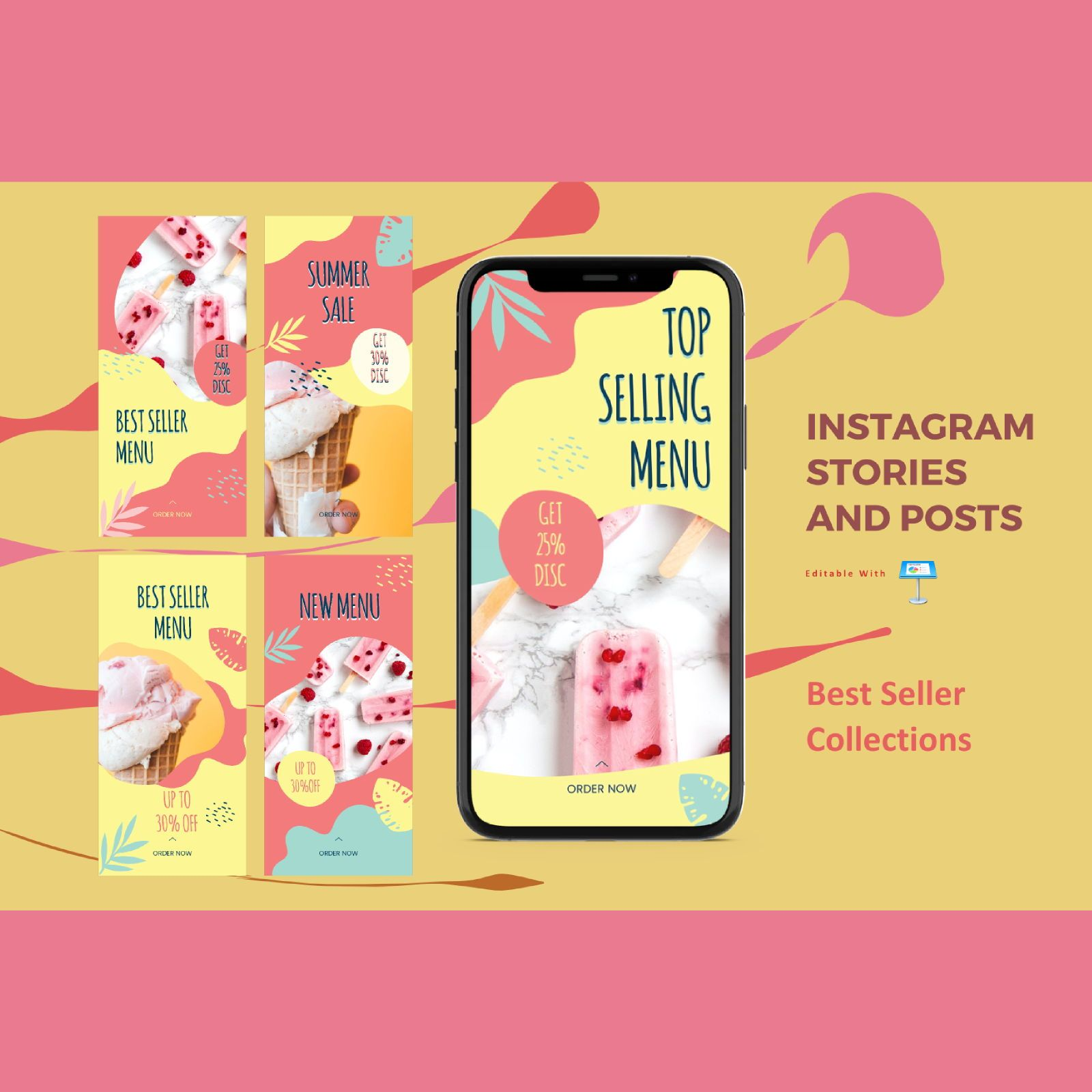 Best selling instagram stories and posts keynote template, 07853, Business Models — PoweredTemplate.com