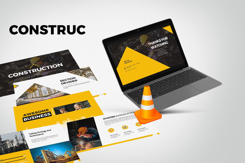 Construction Google Slides, 07866, Business Models — PoweredTemplate.com