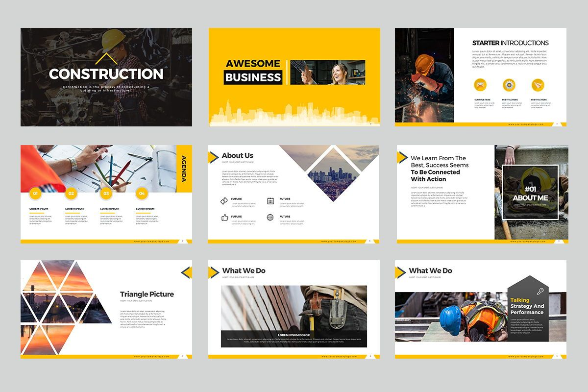 Construction Google Slides, Slide 2, 07866, Business Models — PoweredTemplate.com