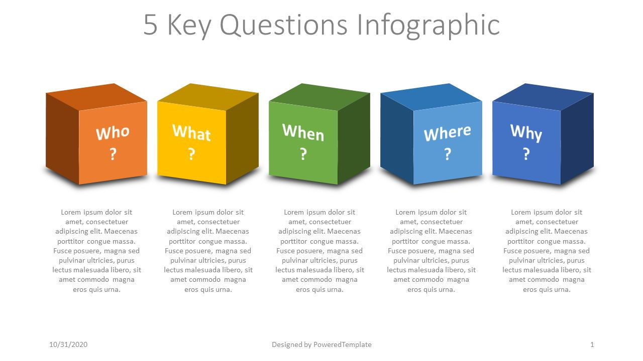 5 Key Questions Infographic, 07876, Education Charts and Diagrams — PoweredTemplate.com