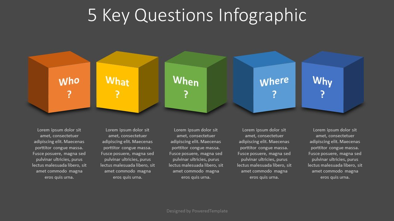 5 Key Questions Infographic, Slide 2, 07876, Education Charts and Diagrams — PoweredTemplate.com
