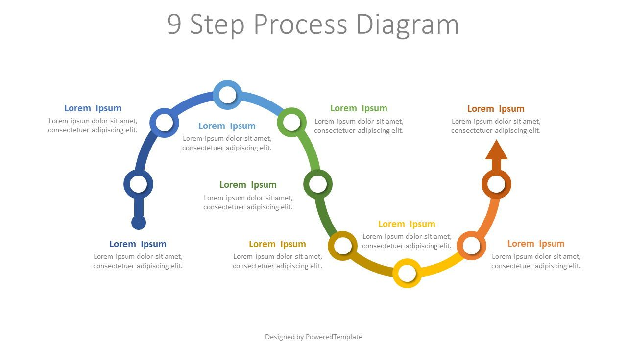 9 Step Process Diagram, 07880, Process Diagrams — PoweredTemplate.com