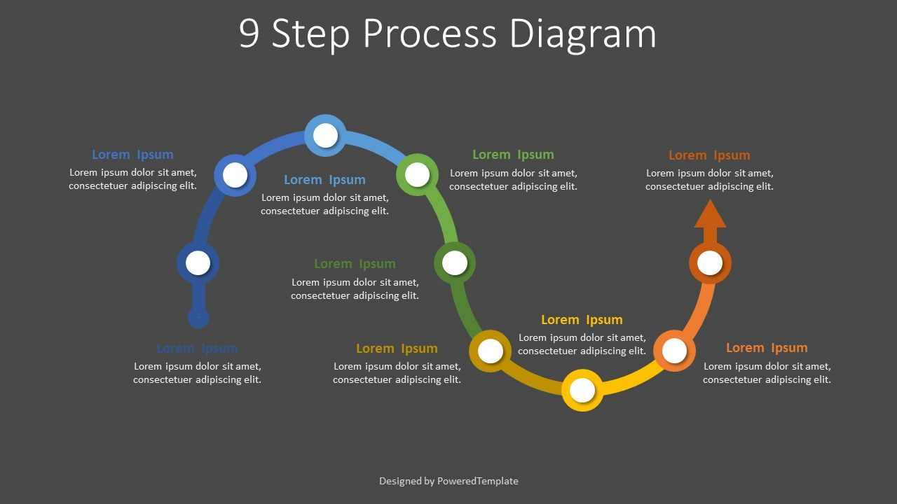 9 Step Process Diagram, Slide 2, 07880, Process Diagrams — PoweredTemplate.com