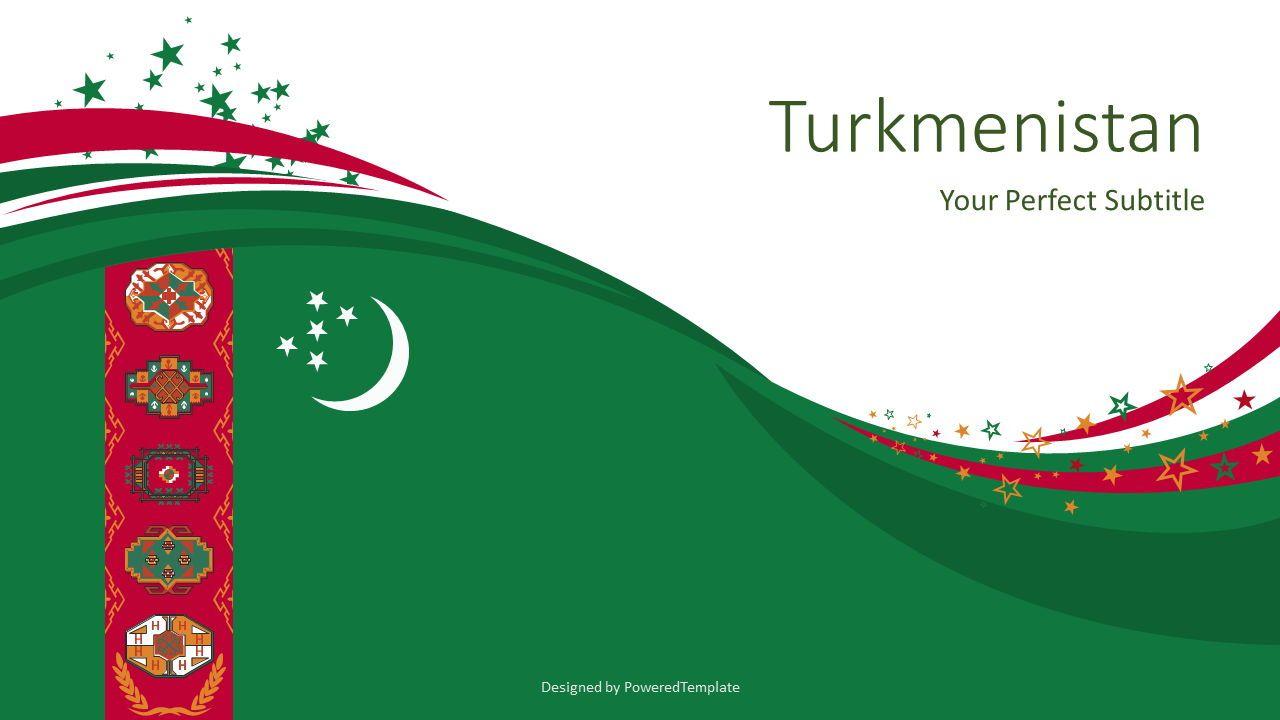 Festive Turkmenistan State Flag, 07884, Presentation Templates — PoweredTemplate.com
