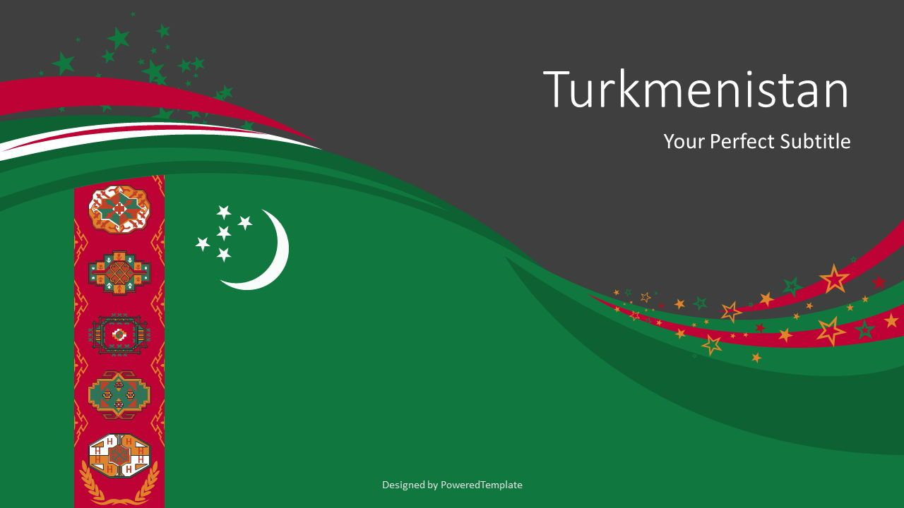Festive Turkmenistan State Flag, Slide 2, 07884, Presentation Templates — PoweredTemplate.com