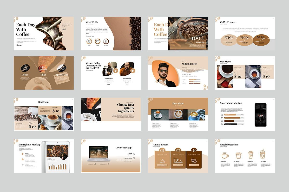 Coffee Keynote Templates, Slide 3, 07892, Business Models — PoweredTemplate.com